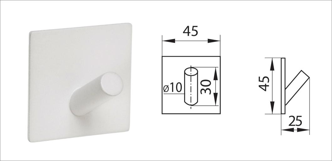 Вешалка-крючок без сверления ha-hr-155 белый